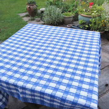 Blue and white check vintage French look early 1990's table cloth
