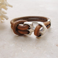Anchor Bracelet - Nautical Bracelet Beach Jewelry Leather and Metal