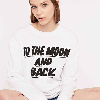 Baron Von Fancy To The Moon and Back Sweatshirt in White - Urban Outfitters