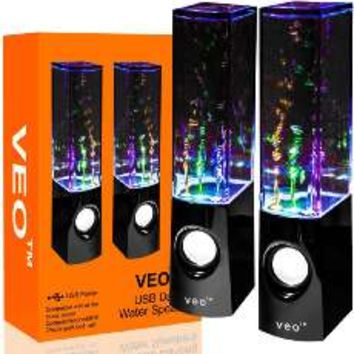 Vktech Led Dancing Water Speakers Light Show Fountain Speakers for Cellphone Notebook Mp4 Mp3 (White)