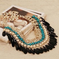 Bohemia Jewelry Choker Necklace Fashion Rhinestone Chain Collar Gold Necklaces & Pendants Tassel Statement Necklace Women