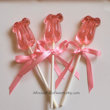 12 BALLERINA Party SLIPPERS Shoes Barley Sugar Hard Candy Lollipops Suckers Birthday Party Favors Gifts