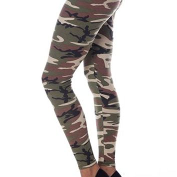 Core Casuals Camo Leggings - Olive from Casual & Day at Lucky 21 Lucky 21