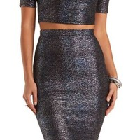 Iridescent Metallic Pencil Skirt by Charlotte Russe - Blue