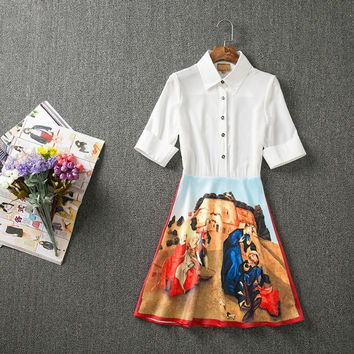 Victoria Beckham Vintage Oil Print Dress - New Arrival