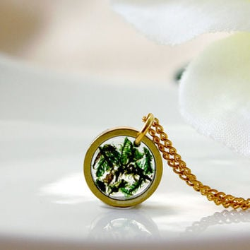 Real Moss Necklace ,Real Flower Necklace, Simple Gold Necklace, Resin Flower Necklace, Cool Necklace, Cute Necklace, Dainty Necklace