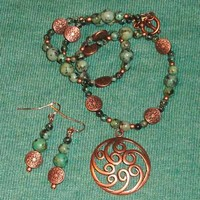 Waves of Copper - Matted African Turquoise and Copper Set