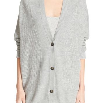 Vince V-Neck Mesh Panel Double Face Wool & Silk Cardigan   Nordstrom