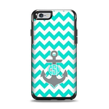 The Teal Green and Gray Monogram Anchor on Teal Chevron Apple iPhone 6 Otterbox Symmetry Case Skin Set