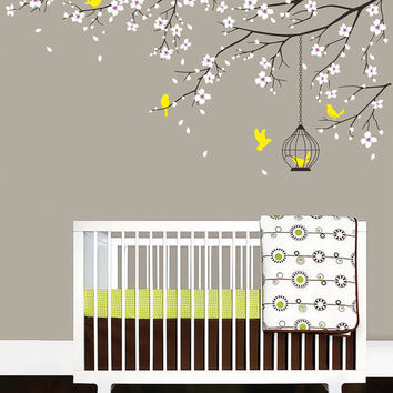 Baby nursery decal birdcage flying birds decals cherry blossom tree branch wall sticker baby girl room decor vinyl wall decal flowers branch