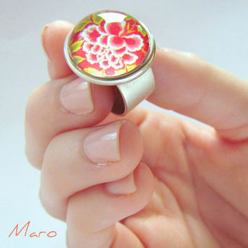 Red Flower Wide Band Ring glass dome adjustable by SandstarJewelry