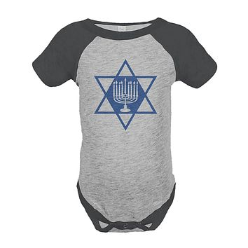 Custom Party Shop Baby's Menorah Hanukkah Onepiece Grey