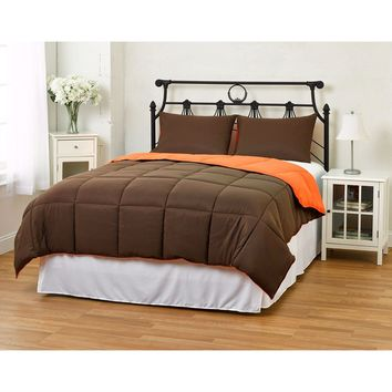 Twin/Twin XL size 2-Piece Brown Orange Microfiber Comforter Set with 1 Shams