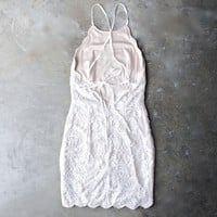 up all night scallop edge lace dress - cream