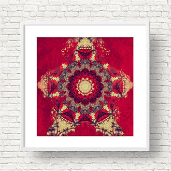 Vintage Christmas Mandala Art Print - Red Indie Wall Art, Digital Download | Bohemian DIY Home Decor by Mila Tovar