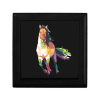 Colorful Running Horse Stallion Equestrian Jewelry Box