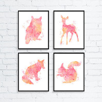 Woodland Nursery, Baby Girl Nursery, Girls Room Decor, Nursery Art, Childrens Art, Watercolor Nursery Art, Owl, Fawn, Fox, Squirrel, Pink