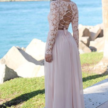 Blush Crochet Top Maxi Dress with Lace Up Back