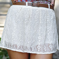 Breaking Rules Lace Skirt: Ivory | Hope's