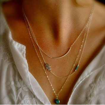 SALE   Trendy Gold Hamsa Fatima Hand Evil Eye Turquoise Three Layers Necklace