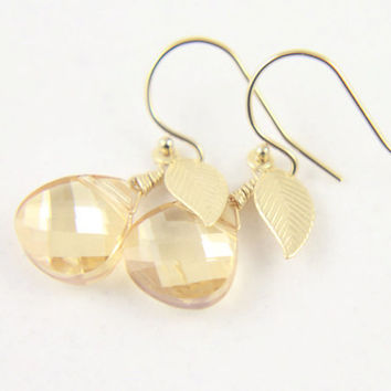 Crystal Earrings with Leaf - 14K Gold Filled - Golden Shadow Swarovski - Bridesmaid Gift, Bridal Jewelry