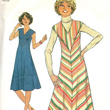 Retro Disco Style 1970s Fashion Simplicity Sewing Pattern Loose Fit A-line Tent Dress V Neck Yoke Flared Skirt Bust 36