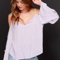 Woodstock Darling Pale Lavender Lace Top