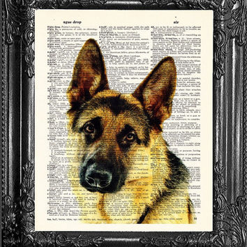 Boyfriend Gift-German Shepherd Print-Cool Man GIFT-OFFICE Wall Art-Dog Poster Print-Dog Lover Gift Husband-Gift For Men-College Room Decor
