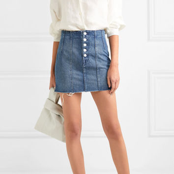 GRLFRND - Twiggy paneled denim mini skirt