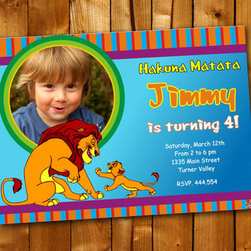 Lion King Birthday Colorful, Birthday Invitation, Birthday Party for little boy and little girl