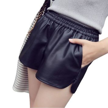 New Fashion women shorts casual high waist pu leather shorts plus size Short Pants With Pockets Loose Shorts female