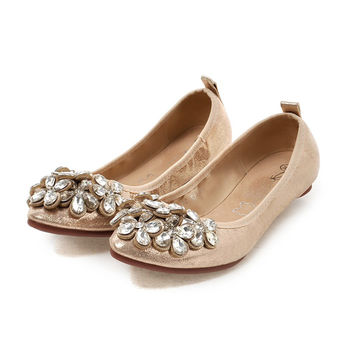 Women Flats Boat Loafers Ballets Low Heels Crystal Rhinestone Bohimia Spring Autumn Casual Sexy Fashion Black Gold Ladies Shoes