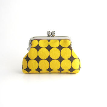 Frame Coin Purse Yellow Dots -Mini Jewelry Case with Ring Pillow