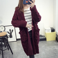 Solid Color Knit Sweater Coat