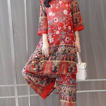 Printed Chiffon Two-piece Outfits