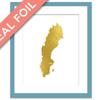 Sweden Map - Gold Foil Print - Gold Sweden Print - Gold Foil Map - Geography Travel Poster - Sweden Wall Art - Sweden Map Decor - Stockholm
