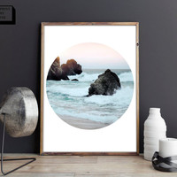 Beach photography, Sea, Circle Photo Print, Nature Photography, Minimal decor, Forest Print, Printable Wall Art, Landscape print, Digital