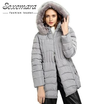 Plus Size Women Fur Hooded Parka ,Coat Anorak Down Parkas Long Sleeve 2017 Button Zipper Outwear Thick Winter Jacket Women Coat