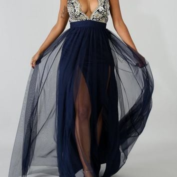 Navy Blue Patchwork Grenadine Sequin Embroidery Spaghetti Strap Backless Elegant Prom Evening Party Maxi Dress