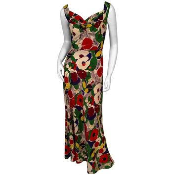1930's Colorful Bias Cut Silk Floral Print Evening Dress