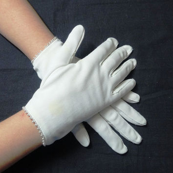Vintage Miss Aris Child's White Gloves with Seed Pearl Trim in Wrist Length, Nylon Stretch - Circa 1960s or 1950s