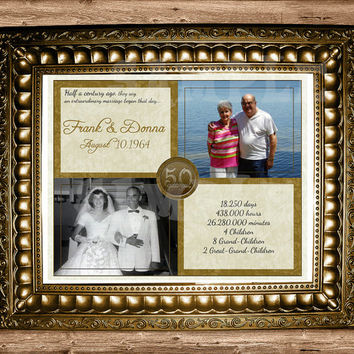 Golden 50th Anniversary Gift - 50th Wedding Anniversary - Anniversary Gift Print - Then And Now Photos - vow renewal couple gift gold