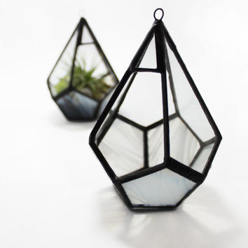 Small Teardrop Hanging Terrarium Container - for air plant or succulent garden - Stained Glass