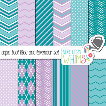 Aqua, Teal, Lilac, and Lavender Digital Paper Pack – blue and purple scrapbook papers - chevron, argyle & polka dot –instant download– CU OK