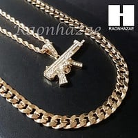 "MEN MACHINE GUN CHAIN DIAMOND CUT 30"" CUBAN LINK CHAIN NECKLACE S074G"
