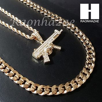 "MEN ICED OUT MACHINE GUN CHAIN DIAMOND CUT 30"" CUBAN LINK CHAIN NECKLACE S074G"