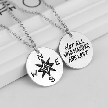 "Fashion Unisex Couple Alloy Letter Necklace "" Not All Who Wander Are Lost"" and compass Pendant Necklace For Women Men Jewelry"