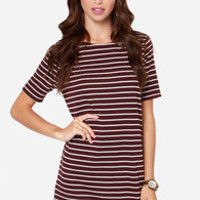 Law Bender Ivory and Burgundy Striped Dress
