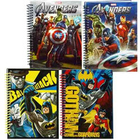 Avengers & Batman Hardcover Spiral Notebook (4 pack)