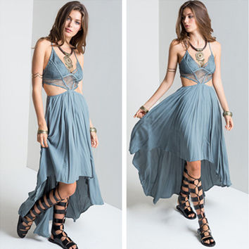 """Free People"" Fashion Sexy Solid Color Hollow V-Neck Sleeveless Backless Strap Maxi Dress"